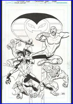 YOUNG JUSTICE original COVER ART #17 ROBIN ARTEMIS KID FLASH SHIMMER MAMMOTH