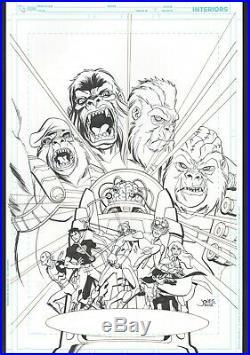 YOUNG JUSTICE original COVER ART #18 GORILLAS ATTACK / CREATURE FEATURES